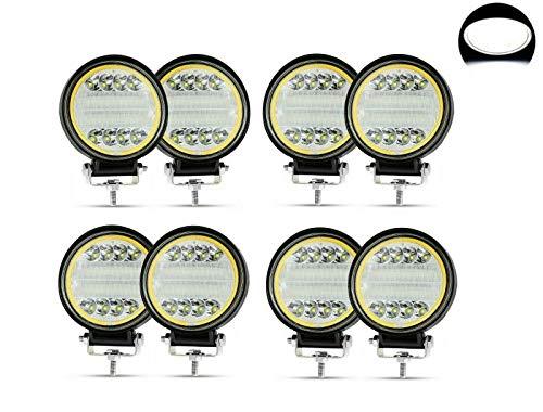 Flexzon 4.5 pulgadas 24 LED 72 W ronda trabajo niebla spot luces 8x ajuste universal 12v 24v 6500k 3000lm