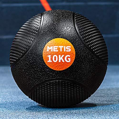METIS Medizinball - 1kg to 10kg   Fitnessball für Heimgebrauch und Fitnesscenter - Gummi mit ausgezeichnetem Griff (6kg)