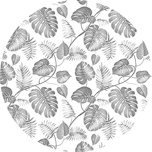 Deco&Fun - Alfombra Vinílica Redonda Tropical Palm Gris 80x80cm - Alfombra PVC Alfombra vinílica Cocina- Alfombra vinílica salón - Alfombras de Vinilo- Alfombra Redonda