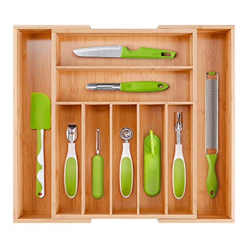 MOSONIC Bamboo Kitchen Drawer Organizer - Expandable Utensil Tray Silverware Organizer Cutlery Holder for Flatware and Kitchen Utensils (9 Compartments, Plus Size)