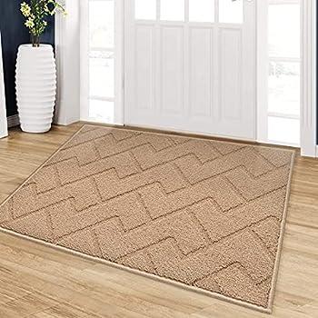 """Indoor Doormat Front Back Door Mat Rubber Backing Non Slip Door Mats 24""""x35"""" Absorbent Resist Dirt Entrance Doormat Inside Floor Mats Area Rug for Entryway Machine Washable Low-Profile  Brown"""