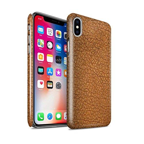 Stuff4 Lucidare Duro Snap On Custodia/Cover/Caso/Cassa del Telefono per Apple iPhone XS/Cacao Marrone/Effetto Toppa in Pelle Disegno
