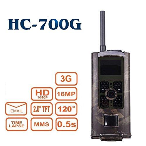 Hunting Trail Camera 3G 2G 16MP Full HD Wildkamera HC-700G 48 Black LED 0,5 Sek Trigger 120° Fotofalle Überwachungskamera 3G 2G GSM MMC SMTP SMS Kamera
