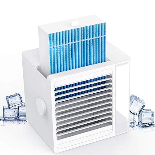 Brizer Glacier AC Portable Air Conditioner for Small Room- Indoor Personal Cooler, Small Cube Air Conditioner and Mini Air Cooler, Cooling Device, Water Cooled, Portable AC- Evaporative Cooler for Desk, Personal AC Unit with Fridge Safe Removable Filter