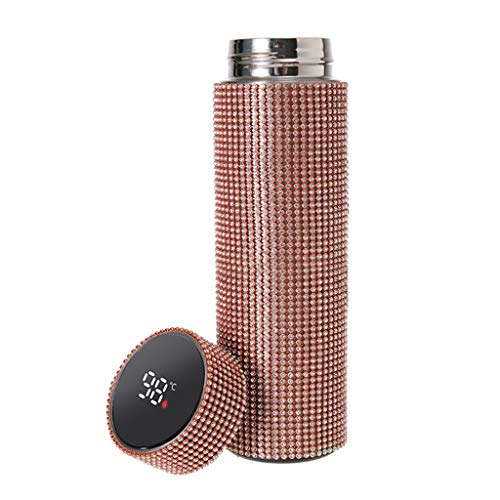 Joocyee - Taza Termo con Diamantes Brillantes, medición Inteligente de Temperatura, LED táctil Digital, Oro Rosa Taza Termo Digital con LED con Tachuelas de Diamantes, Oro Rosa