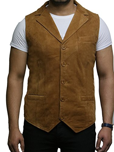 BRANDSLOCK Mens Leather Waistcoat Smooth Goat Suede Classic Smart (3XL, Tan)