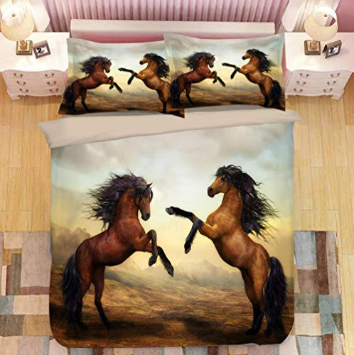 Tr674gs 3D bedding-Duel horse pattern-duvet cover-king set-bed sheet-blanket-bedroom bed three-piece set-comfortable-soft bedding-228×228cm