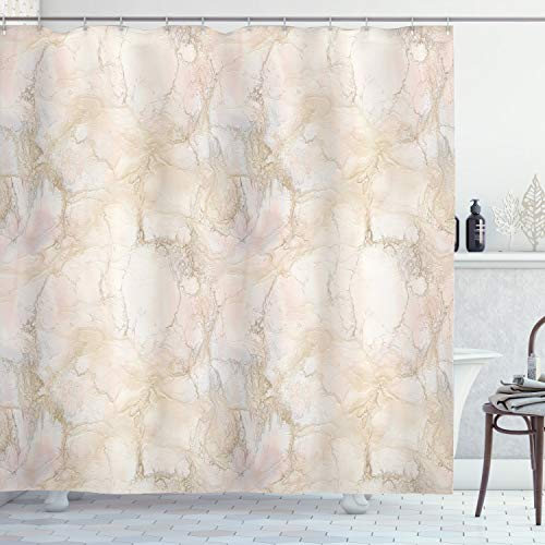 ABAKUHAUS Marmor Duschvorhang, Rosa Pfirsich Farben Risse, mit 12 Ringe Set Wasserdicht Stielvoll Modern Farbfest & Schimmel Resistent, 175x180 cm, Beige
