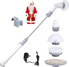 Trcode Electric Spin Scrubber,360 Cordless Power Scrubber with 4 Replaceable Cleaning Brushes,Cordless Rechargeable Electric Mop for Bathroom,Floor,Wall,Tile and Kitchen