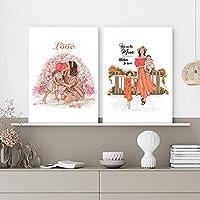 ママ娘ポスターとプリントファッション写真ウォールアートパネルシンプルなキャンバス絵画インテリアリビングルームの家の壁の装飾ギフト40x60cmx2フレームなし