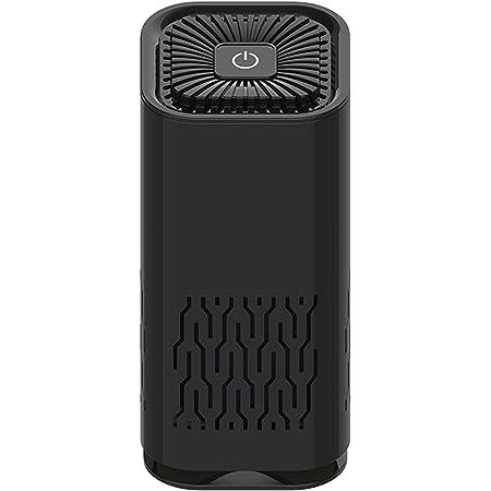 【2021新】空気清浄機 小型 USB充電 微粒子99.97%除去 車載用空気清浄器 フィルター交換可 イオン発生器 除菌消臭 脱臭器 タバコ匂い消去 ホコリ PM2.5 花粉対策 ナイトライト搭載 静音 軽量 オフィス 寝室 卓上など対応 (黒)