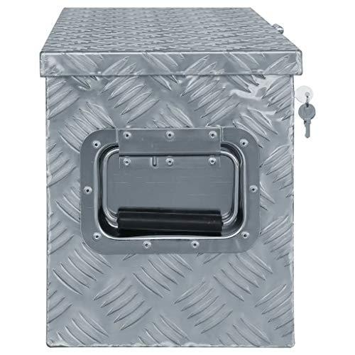 WENXIA Alubox | Allzweck-Transportkoffer | Deichselbox | Aufbewahrungsbox | mit Verriegelungssystem | Silber 80 × 30 × 35 cm - 5
