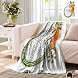 Batik Small Throw Blanket, Native Common House Gecko Moon Lizard Tropical Graphic Design Fleece Mini Blankets for Sofa, 50' x 30' Multicolor