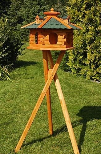 DEKO VERTRIEB BAYERN XXL Premium Solar Vogelhaus mit Solar Beleuchtung + Ständer 135cm hoch VORRATSFÜTTERUNG Vogelvilla, Farbe: Dach grün