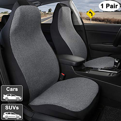 Giant Panda 1 Pair Breathable Universal Fit Car Front Seat Covers High Back for Driver and Passenger Seats, Air Bag Compatible, Black and Grey