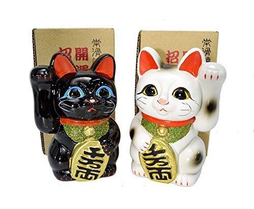 Fabricado en Japón de gato 5.1cm Tokoname porcelana blanco y negro par Maneki Neko