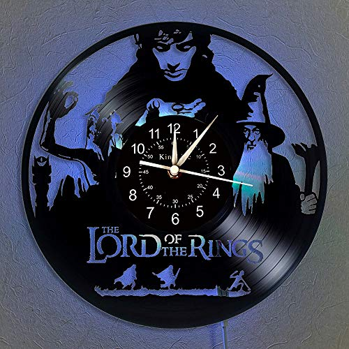 Reloj de pared con registro de vinilo de Lord of The Rings, luz LED Reloj de vinilo de 12