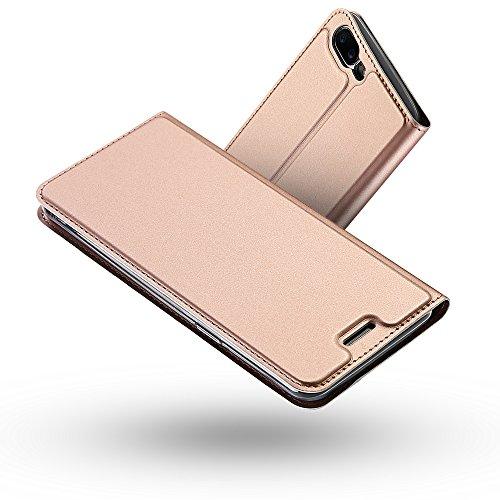 Radoo OnePlus 5 Hülle, Premium PU Leder Handyhülle Brieftasche-Stil Magnetisch Folio Flip Klapphülle Etui Brieftasche Hülle [Karte Halterung] Schutzhülle Tasche Hülle Cover für OnePlus 5 (Rose Gold)