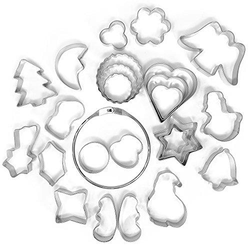 COM-FOUR 25x Cortadores de galletas de metal - Moldes para galletas con motivos navideños -...