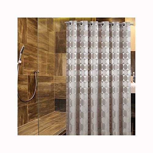 SonMo Duschvorhang Polyester Anti-Bakteriell Anti-Schimmel Wasserdicht Bad Vorhang für Badewanne Badezimmer mit Duschvorhangringen Kreise Khaki 240X220CM