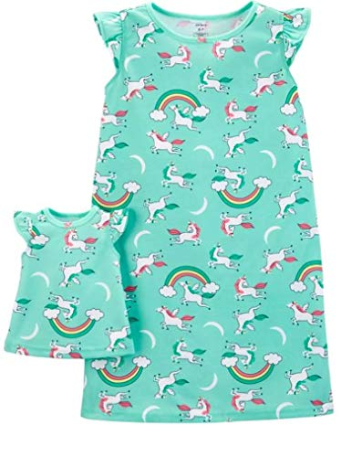 Carter's Girls' 4-14 Jersey Gown and Doll Dress Set (2-3/Unicorn) Mint