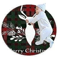 ソフトラウンドエリアラグ 100x100cm/39.4x39.4IN 滑り止めフロアサークルマット吸収性メモリースポンジスタンディングマット,トナカイのクリスマスブーケ花柄チェック柄