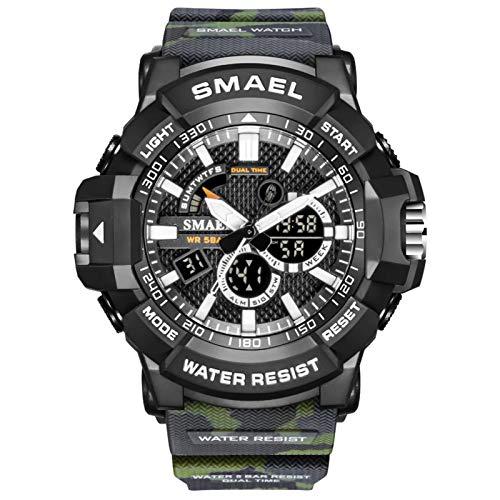 JTTM Reloj Militar para Hombre Deporte Relojes Analógico Y Digital LED Electrónico Grande Relojes Resistente Al Agua 50M,Army Green