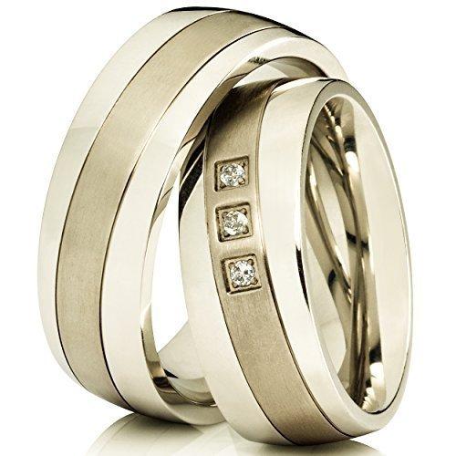 2 alianzas de compromiso anillos de póster con anillos de titanio y grabado