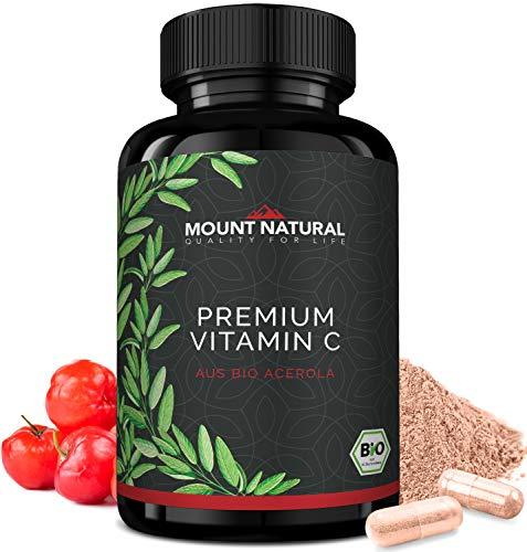 Bio Vitamin C (240 Kapseln) - Vergleichssieger 2019* - natürlich Bio zertifiziertes Acerola Extrakt - ohne Zusatzstoffe- Natürliche Flavonoide & Laborgeprüft Aus Deutschland