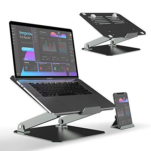 TATE GUARD Erhöhter Laptopständer,Aluminiumlegierung,zusätzlicher Handyhalter, Winkeleinstellung,maximale Belastung 10 kg,Silikon-Schutz,Desktop Ständer Halter für alle Laptops und Tablets