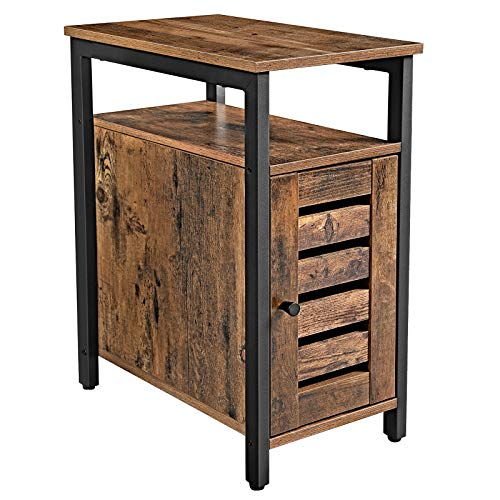 VASAGLE Side Table, Multipurpose Storage Cabinet with 2 Shelves, Adjustable Shelf, Steel Frame, 30 x 50 x 60 cm, Living Room Office, Industrial Style, Rustic Brown LET61BX