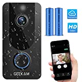 Wireless Video Doorbell Camera with Free Cloud Storage,1080P HD Video,Motion Detection,Two-Way Talk,IP65 Weatherproof,2.4G Wi-Fi Connection,Night Vision,166°Wide Viewing Angle.