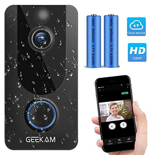 Funkklingel Video Türklingel mit Kamera,Kostenloser Cloud-Speicher, 1080P HD Video, Gegensprechfunktion, IP65 wetterfestes, Bewegungserkennung, 2.4G WLAN Verbindung, Nachtsicht, 166 ° Weitwinkel.