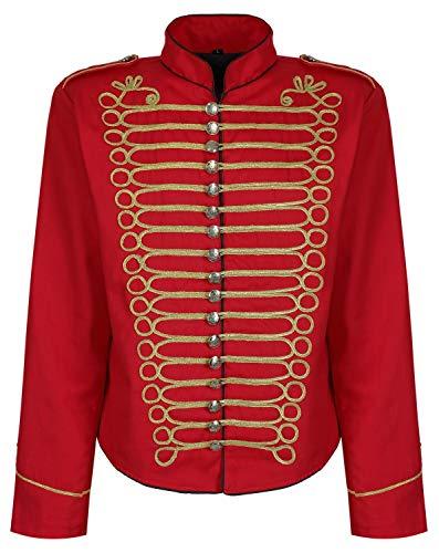 Herren Steampunk Napoleon Offizier Parade Jacke - Rot & Gold (Herren XL)