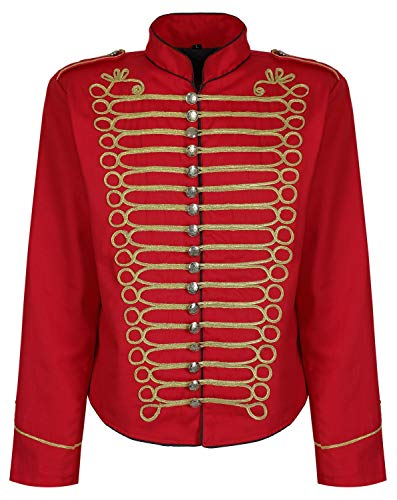 Herren Steampunk Napoleon Offizier Parade Jacke - Rot & Gold (Herren XXXL)