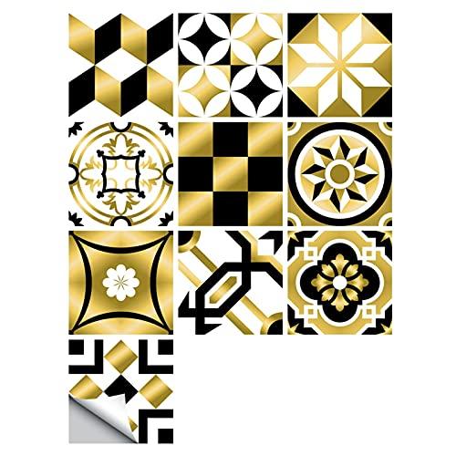 Fawyhr 10 unids/set Golden Black & White Hard Tiles Etiqueta de pared Cocina Tablas de baño Art Mural Impermeable y PVC PVC Paper Hermosa Casa (Size : 20cm*20cm*10pcs)