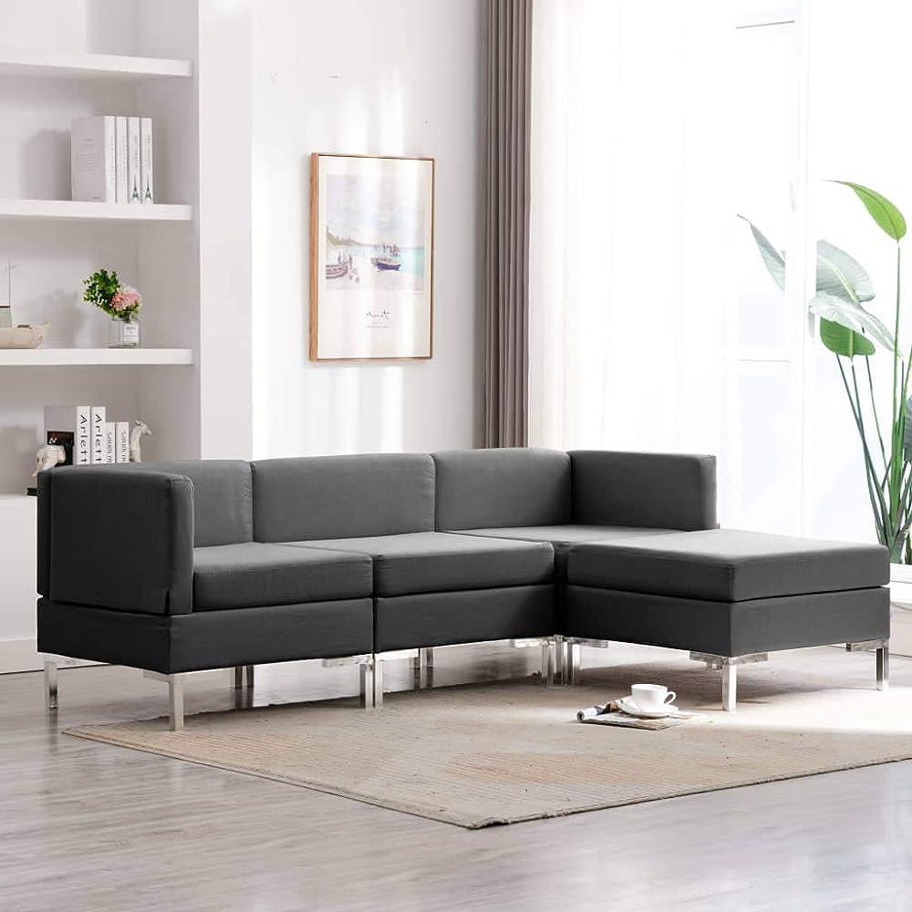 Festnight,divano moderno ad angolo per 4 persone  in tessuto MAN6835815180310WH