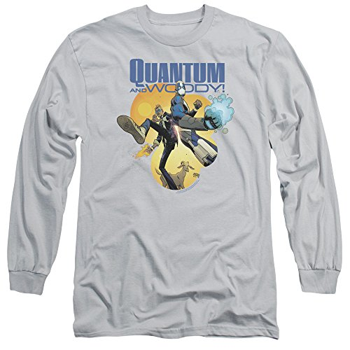 Quantum And Woody - Manches longues A Crowd Trois T-shirt pour hommes, X-Large, Silver
