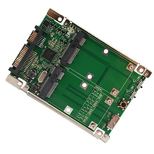IOCrest SD-ADA40107 2.5-Inch SSD/HDD Slot SATA 6G/USB 3.0 to Dual mSATA RAID Adapter - Green