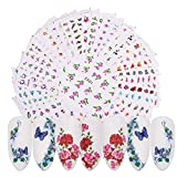 40 Sheets Nail Art Stickers Flower Butterfly Rose Water Transfer Decals DIY French Tips Beautiful Salon Sliders for Women Fingernails Toenails Decorations Manicure Tip Wraps Decor Accessories Set