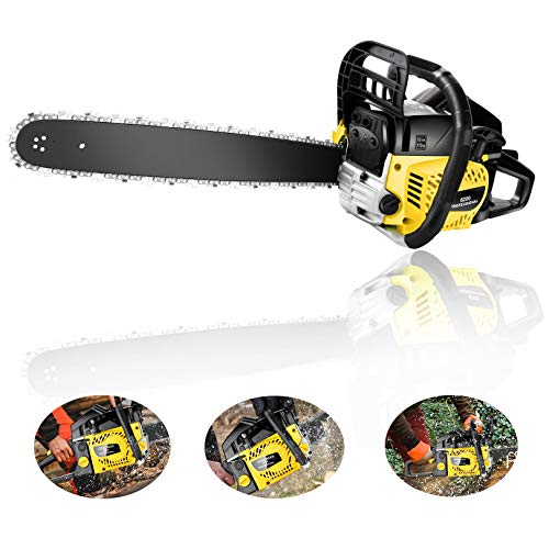 Homdox 20 Inch Gas Powered Chainsaw 62CC 2-Stroke Handheld Chain Saw with Tool Kit for Cutting Trees, Wood(Yellow Black)