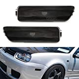 iJDMTOY Euro Smoked Lens Front Bumper Side Marker Lamps Housings Compatible With Volkswagen: 1999-2005 MK4 Golf GTI R32 Rabbit Jetta, Replace OEM Amber Sidemarker Lamps