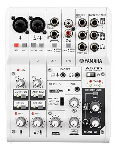 Yamaha AG06 6-Channel Mixer / 2 Microphone , White