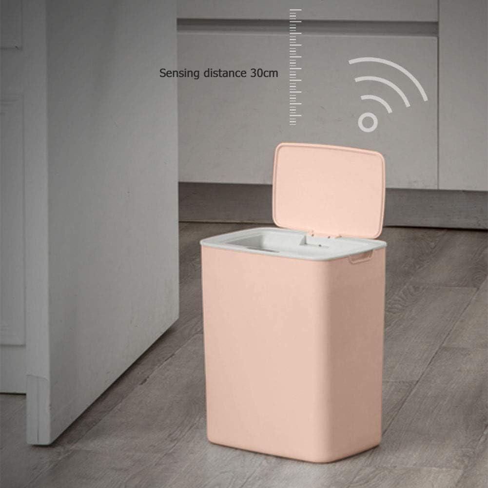 otakujk Cubo de basura autom/ático con sensor autom/ático sin contacto y carga USB cubo de basura autom/ático para inducci/ón rosa