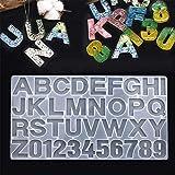 Homvik Molde Silicona Resina Epoxi para Hacer Llaveros Colgantes Velas Molde Epoxi Manualidades de Letras y Numeros Molde Silicona DIY - Transparente