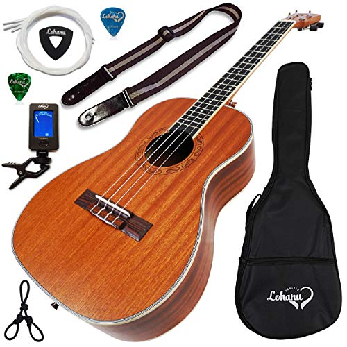 Ukulele Baritone Size Bundle From Lohanu (LU-B) 2 Strap Pins Installed FREE Uke Strap Case Tuner Picks Hanger...