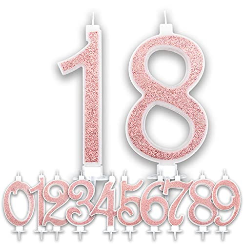Velas grandes de 18 años de color rosa dorado con purpurina para tarta de cumpleaños o niña | Decoración de velas para cumpleaños y aniversario de tarta de 18 años | Altura de 13 cm