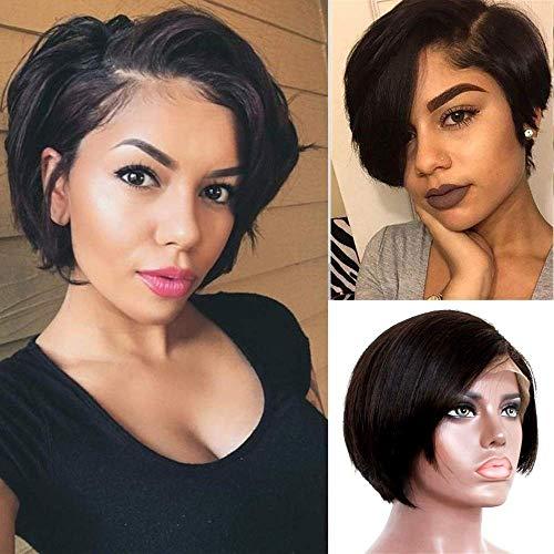 TOOCCI Naturel Lace Frontal Wigs Cap Perruque Courte en Cheveux Humains Coupe Pixie Cut Brésilienne Cheveux Latérales Coupée Pour Les Femmes Humains Gratuite Côté Frange Pour Une Partie