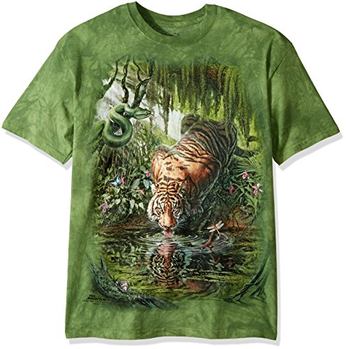 The Mountain Enchanted Tiger Adult T-Shirt, Green, Medium