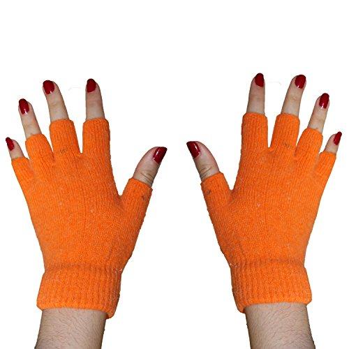 Acan Guantes Mitones para Mujer de Lana Naranja